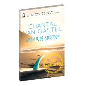 Boekcover Abby & de Surfboy met afbeelding van zee, strand en een surfplank